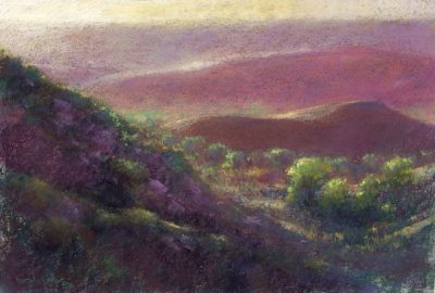Nestled in Dawn's Early Light 12x16 pastel by Michael Chesley Johnson