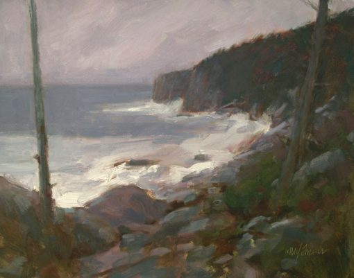 Otter Cliffs Storm 12x16 oil by Michael Chesley Johnson