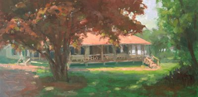 Red Maple, Hubbard Cottage 1x24 oil by Michael Chesley Johnson