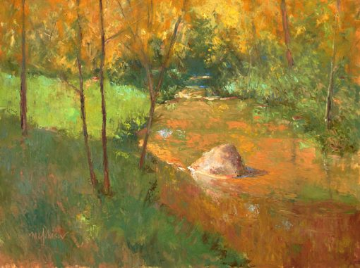 Spring Creek Gold 12x16 oil by Michael Chesley Johnson