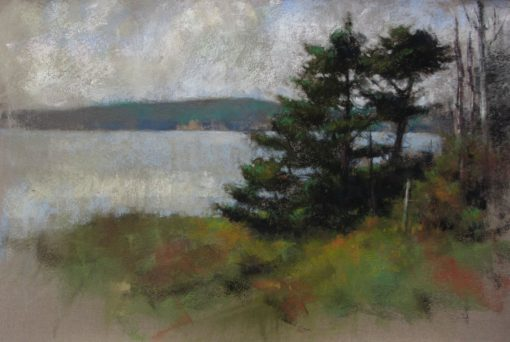 Twin Spruces 12x18 pastel by Michael Chesley Johnson
