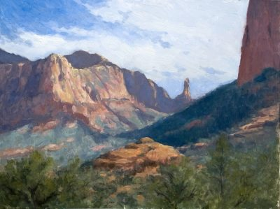 View of Rabbit Ears 12x16 oil by Michael Chesley Johnson