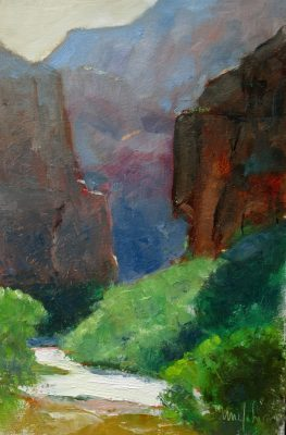 Big Bend I 9x6 oil. Zion National Park. By Michael Chesley Johnson