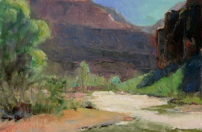 Big Bend II 6x9 Oil by Michael Chesley Johnson. Zion National Park.