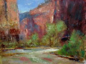 Into the Narrows 9x12 oil by Michael Chesley Johnson. Zion National Park.