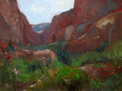 Kolob Canyons Overcast 9x12 oil by Michael Chesley Johnson. Zion National Park.
