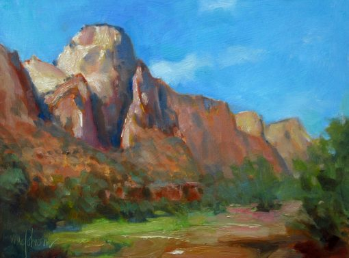 The Sentinel 9x12 oil by Michael Chesley Johnson. Zion National Park.