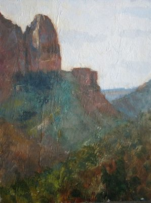 Shuntavi Butte 12x9 Oil by Michael Chesley Johnson. Zion National Park.