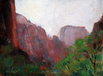 View to the South 9x12 oil by Michael Chesley Johnson. Zion National Park.
