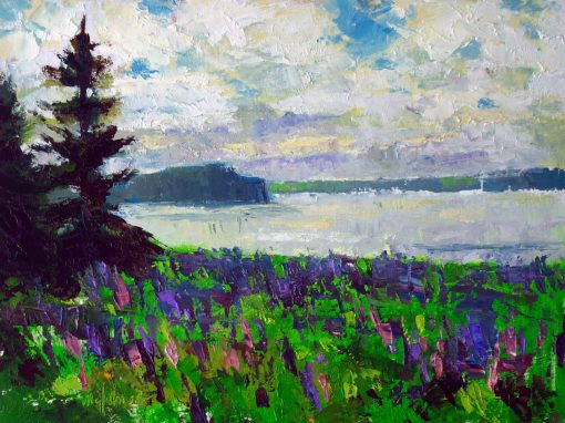 Field of Lupines 9x12 Oil by Michael Chesley Johnson