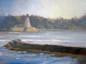Breakwater & Lighthouse 9x12 Oil by Michael Chesley Johnson