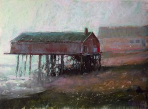 Maritime History: Brining Shed (McCurdy's Smokehouse, Lubec, Maine) 9x12 Pastel by Michael Chesley Johnson. Landscapes, maritime paintings, plein air painting workshops in the US and abroad Michael Chesley Johnson.