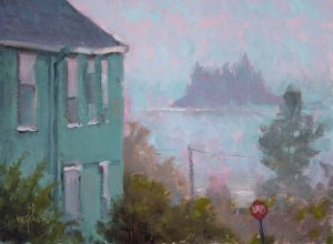 On Foggy Street 9x12 Oil by Michael Chesley Johnson