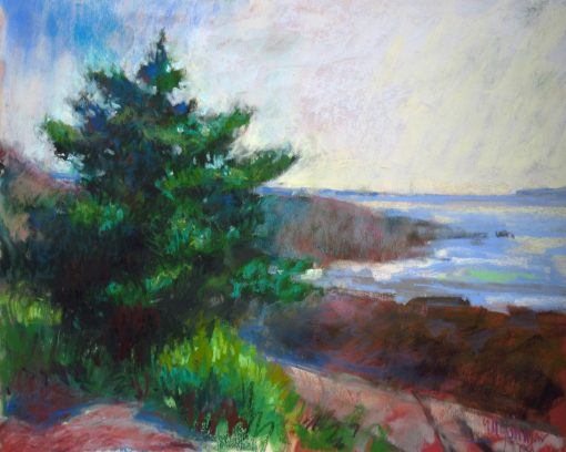 Spruce by the Sea 9x12 Pastel by Michael Chesley Johnson