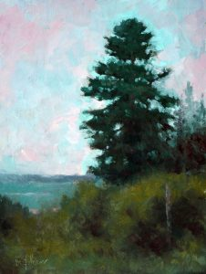 Spruce in Fog 12x9 Oil by Michael Chesley Johnson