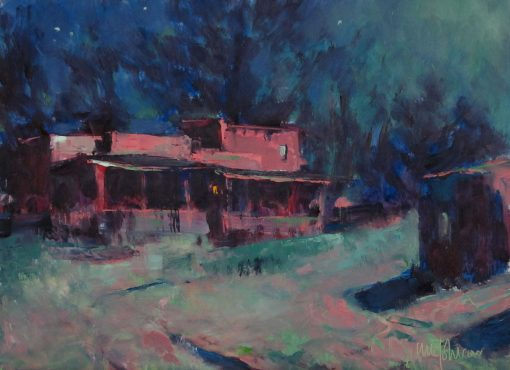 Taos at Midnight 6x8 Oil by Michael Chesley Johnson