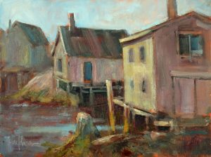 Peggy's Cove Morning, 9x12 Oil by Michael Chesley Johnson.