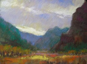 Orchard in the Mountains 9x12 Pastel by Michael Chesley Johnson