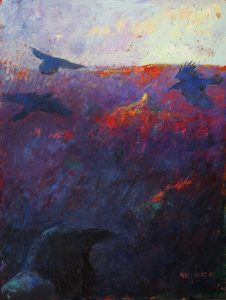 Ravens at Sunset 12x9 Oil/Cold Wax by Michael Chesley Johnson