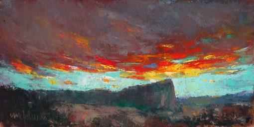 Sunset Over Inscription Rock 6x12 Oil/Cold Wax by Michael Chesley Johnson