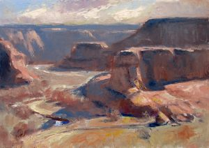 Eastward Blues 9x12 Oil (Junction Overlook, Canyon de Chelly National Monument) by Michael Chesley Johnson