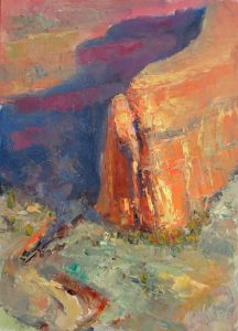 Golden Light 12x9 Oil (Mummy Cave Overlook, Canyon de Chelly National Monument) by Michael Chesley Johnson