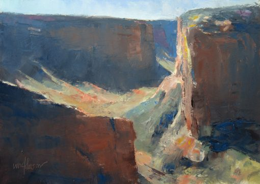 Morning Light 9x12 Oil (Massacre Cave Overlook, Canyon de Chelly National Monument) by Michael Chesley Johnson