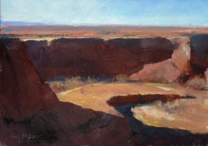 Quiet Crescent 9x12 Oil (Junction Overlook, Canyon de Chelly National Monument) by Michael Chesley Johnson