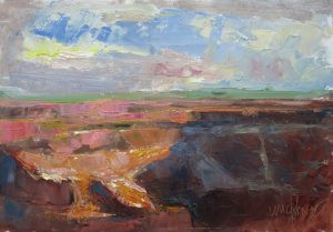 Snow Squall 6x8 Oil (White House Ruins Overlook, Canyon de Chelly National Monument) by Michael Chesley Johnson